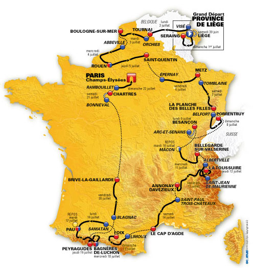 The official map of the tour France 2012